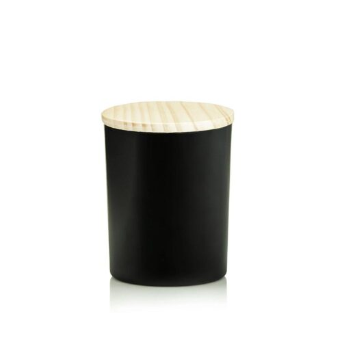 black matte glass candle jar with lid